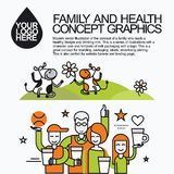 Family Healthy Infographic With Character Cow Stock Image