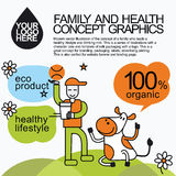 Family Healthy Infographic With Character Cow Royalty Free Stock Image