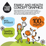 Family Healthy Infographic With Character Cow Stock Images