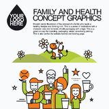 Family Healthy Infographic With Character Cow Royalty Free Stock Photo