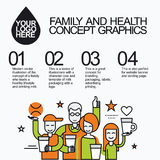 Family Healthy Infographic With Character Cow Royalty Free Stock Photography
