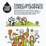 Family Healthy Infographic With Character Cow Stock Photography