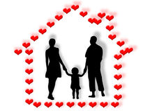 Family and heart home Stock Photo