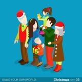 Family hearth holiday Christmas holiday flat isometric vector 3d Stock Photos