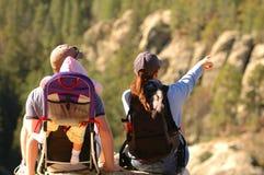 Family on hike. Enjoying the view Royalty Free Stock Photo