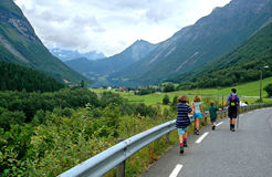 Family on a hike. Family hiking in Norwegian countryside stock image