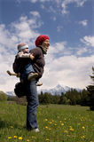 Family on hike. Mom and 3 years old son on hike under Krivan - (peak, symbol of Slovakia Stock Photography
