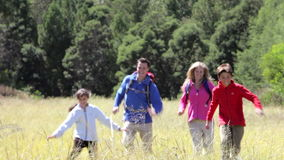 Family On Hike In Beautiful Countryside stock video footage