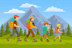 Family hikers traveling Royalty Free Stock Images