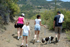 Family hiking 1. Family hiking with a dog stock images