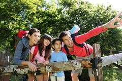 Family hiking and admiring nature Royalty Free Stock Photography