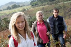 Family on hiking day Royalty Free Stock Image