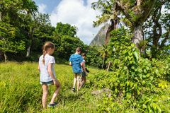 Family hiking. Family of mother and kids hiking on summer day at tropical island stock images