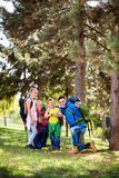 Family on hiking. In the forest stock photo