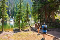 Free Family Hiking In Colorado Mountains. Stock Images - 160290474