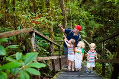 Family hiking in jungle. Father and kids on a hike in tropical rainforest. Dad and children walk in exotic forest. Travel with child. Borneo jungle and stock photo