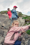 Family hiking in mountains Stock Photography
