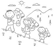 Family hiking in the mountains. Cartoon family hiking in the mountains Stock Photo
