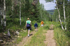 Family Hiking in the mountains Royalty Free Stock Images
