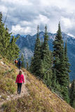 Family hiking on Pacfic Crest Trail, Washington State at Chinook. Hiking along pacific crest trail, washington state at Chinook pass royalty free stock photography