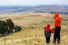 Family hiking in patagonia Stock Photography
