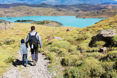 Family hiking in patagonia Royalty Free Stock Photography