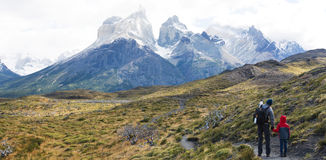 Family hiking in patagonia Stock Photos