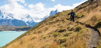 Family hiking in patagonia Royalty Free Stock Photos