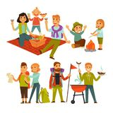 Family hiking picnic or people camping trip and barbecue vector flat icons Stock Image