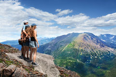 Family on a hiking trip in the mountains. Stock Image