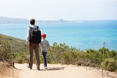 Family hiking. Young active family of two hiking in torrey pines state natural reserve, concept of active and healthy lifestyle Stock Photo