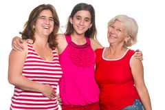 Family of hispanic women isolated on a white background. Three generations of hispanic women isolated on a white background Royalty Free Stock Photos