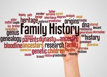 Family History word cloud and hand with marker concept