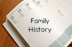 Family history write on notebook. Family history text concept write on notebook royalty free stock image