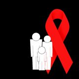 Family and HIV ribbon Royalty Free Stock Photos