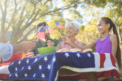 Family holding american flags while having meal in the park. Happy family holding american flags while having meal in the park Stock Image