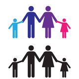 Family Holding Hands. Family sign or icon. In color and silhouette. The use of different colors for each character could represent a multiracial family Stock Photography