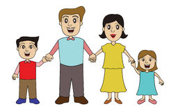 Family Holding Hands Cartoon Characters. Vector Illustration Royalty Free Stock Photography