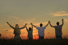 Family holding hands looking. At sunset in field Stock Photography