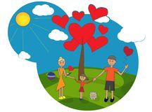 Family holding hands outdoors. Family holding hands in the fresh air near the tree of love, family values Royalty Free Illustration