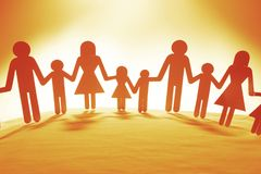 Family holding hands. Family paper chain cutout holding hands Stock Image