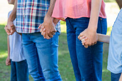 family  holding hands in the park Royalty Free Stock Photos