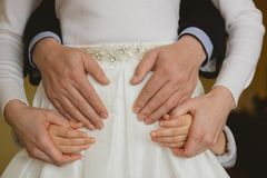 Family holding hands together closeup Stock Photos