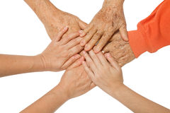 Family holding hands together,concept The bond between family Stock Photos