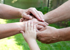 Family holding hands together outdoor royalty free stock photos