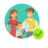 Family Holding Insurance Contract, Insurance Company sorridente assiste l'illustrazione di Infographic Fotografia Stock