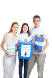 Family Holding Recycle Bin Stock Photos