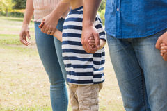 Family holding their hands. On a sunny day Royalty Free Stock Images