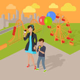 Family Holiday in the Amusement Park Concept Royalty Free Stock Photos