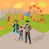 Family Holiday in the Amusement Park Concept Stock Images